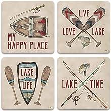 "CoasterStone Drink Coasters, 4.25"", Happy Lake"