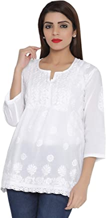 ADA Women's Cotton Handicraft Lucknow Chikankari Short Tunic Top