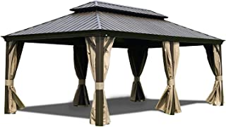 Kozyard Alexander 12'x20' Extra Large Hardtop Aluminum Permanent Gazebo with a Mosquito Net and Privacy Sidewalls (Alexander 12'x20') Commercial Use or Big Party