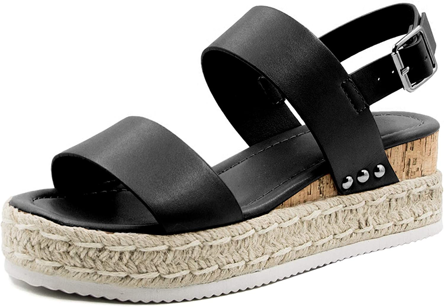 Athlefit Women's Espadrilles latest Sandals Max 48% OFF Ankle Strap Buckle Sa Wedge