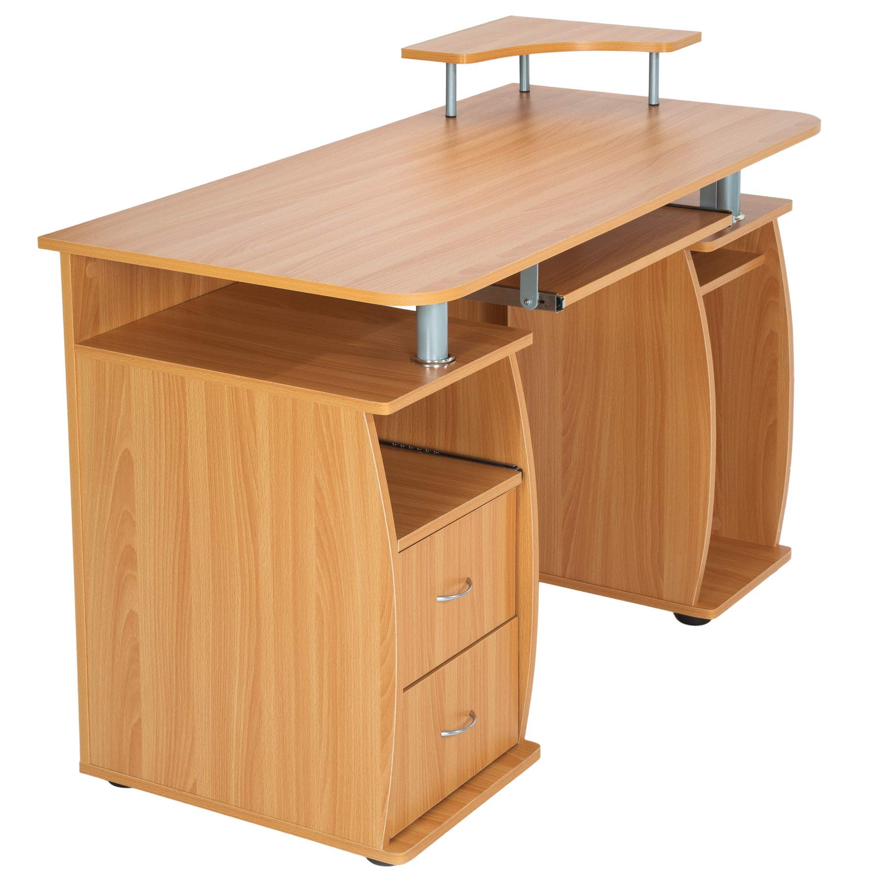 73cm WYQAU Home Office Computer Desk PC Laptop Study Gaming Table Computer Workstation with Keyboard position and host position for Small Home and Office Space NO01-Sandalwood/_100*40