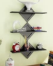 Home Sparkle Wooden Wall Shelfs | Wall Shelves for Wall Decor Home Decor Wall Display Rack (Black)