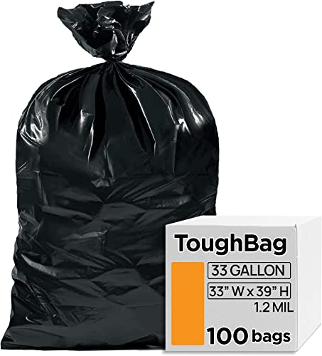 """2021 ToughBag 33 Gallon Trash Bags, 33 x 39"""" Black Garbage Bags (100 COUNT) – Outdoor Industrial Garbage Can popular Liner for Custodians, Landscapers, Lawn outlet sale Bags - Made In USA outlet sale"""
