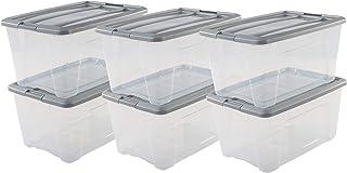 Iris Ohyama, lot de 6 boîtes de rangement empilables - New Top Box NTB-45 - Plastique, transparent/gris, 45 L, 58 x 39,5 x...