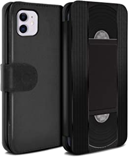 eSwish PU Leather Wallet Flip Case/Cover for Apple iPhone 11 / VHS Cassette Videotape Design/Retro Tech Collection