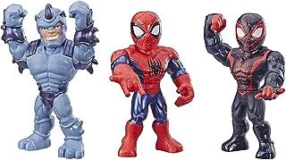 Playskool Heroes Mega Mighties Marvel Super Hero Adventures Web Warriors 3 Pack, Spider-Man, Kid Arachnid, Marvel's Rhino, 10