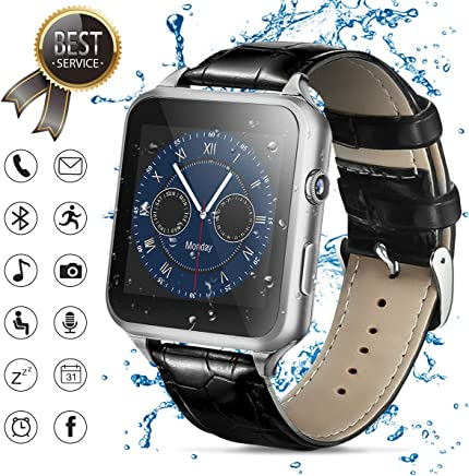 Smart Watch,Bluetooth Smartwatch Touch Screen Smart Phone Watch Android Smartwatch with Camera/SIM Card Slot Waterproof Bluetooth Smart Watch for Android Phones Samsung Men Women Kids (Silver)