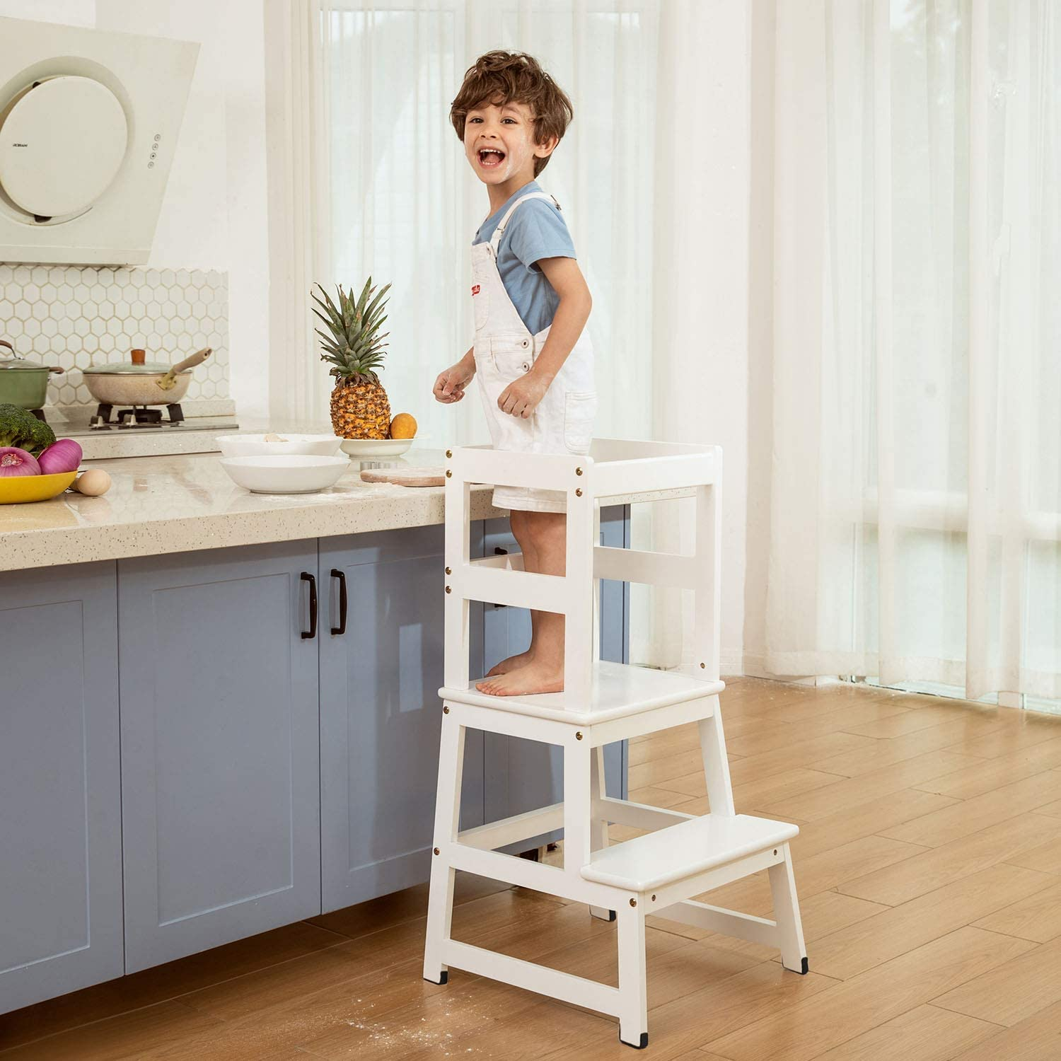 Solid Wood Construction Mangohood Kitchen Helper Step Stool For Kids And Toddlers With Safety Rail Children Standing Tower For Kitchen Counter Mothers Helper Kids Learning Stool Natural Furniture Baby Vit Edu Au