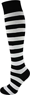 Mysocks, unisexo Rodilla alta calcetines largos raya Algodón penteado extra fino