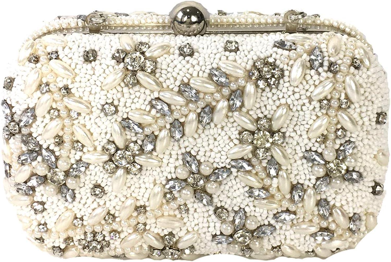 From St Xavier Talon Crystal Beaded Box Bag Bridal Clutch, Ivory