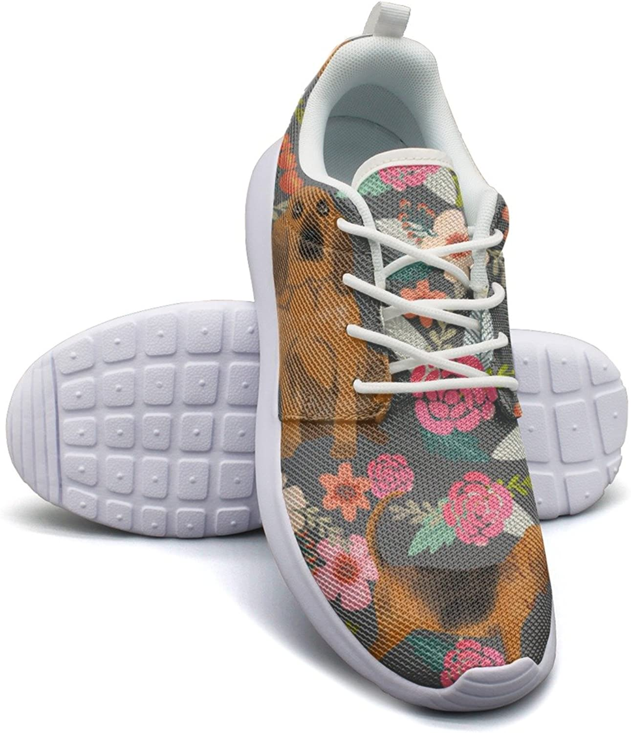 ERSER Bloodhound Dogs and Floral Running shoes Youth Girls