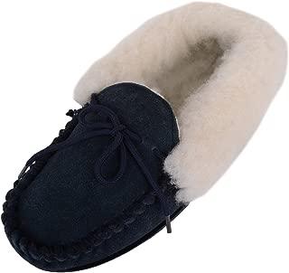 ABSOLUTE FOOTWEAR Womens Genuine Sheepskin Moccasin Slippers Hard Sole Wool Cuff