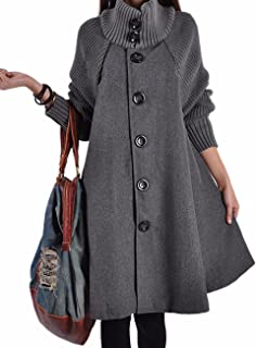 Women's Mid Long Length Single Breasted Cowl High Neck Loose Button Down Woolen Cloak Coat Jacket