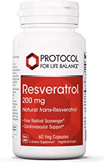 Protocol For Life Balance - Resveratrol 200 mg - Superior Antioxidant Protection for Cardiovascular Support, Supports Heal...