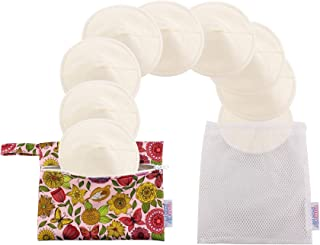 Reusable Bamboo Nursing Pads - Nursing Pads for Breastfeeding-Round and Ultra Soft in Countered shape- 8 packs in Milk White Color with laundry Bag/ Perfect Baby Shower Gift with Free Carry Bag