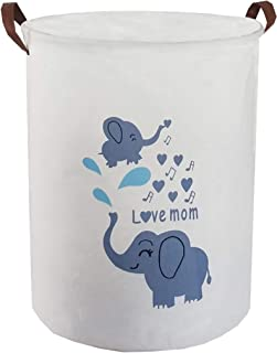 ESSME Laundry Hamper,Collapsible Canvas Waterproof Storage Bin for Kids, Nursery Hamper,Gift Baskets,Home Organizer (Music Elephant)