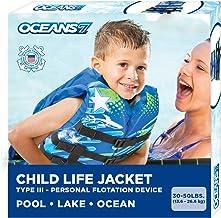 Oceans7 جدید و بهبود یافته 7 گارد ساحلی ایالات متحده تایید شده ، کت زندگی کودک ، قفسه سینه فلکس ، طراحی باز ، یک طرفه نوع ، جلیقه III ، PFD ، دستگاه شناور شخصی ، آبی / سفید