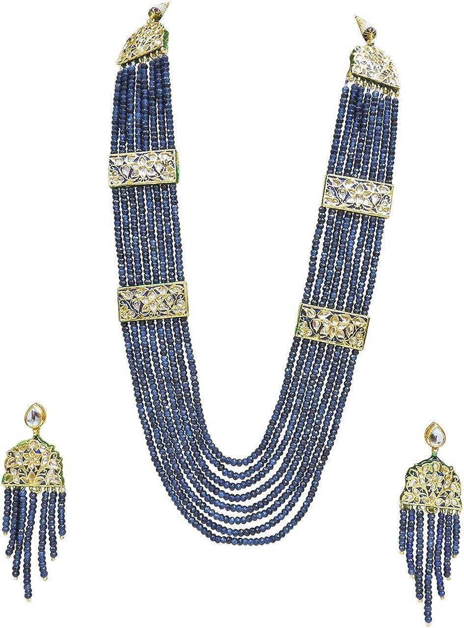 Babosa Sakhi Designer Kundan Long Wedding Necklace Blue Onyx Beaded Jewelry Set