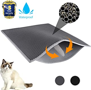 """Waretary Professional Cat Litter Mat, XL Jumbo 30"""" x 24"""", Honeycomb Double Layer Waterproof Urine Proof Trapping Mat for Litter Boxes, Large Size Easy Clean Scatter Control (Grey/Black)"""
