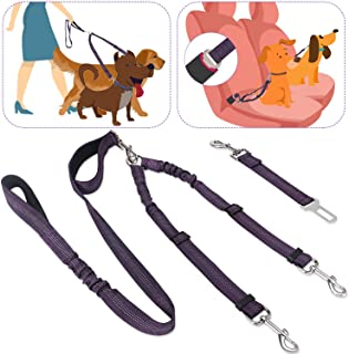 Slowton 2 in 1 Double Dog Leash + Car Seatbelt, 360¡ã Swivel Dual Dog Leash and Vehicle Safety Seat Belt with Elastic Bung...