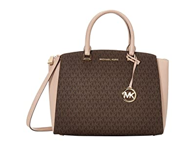 MICHAEL Michael Kors Maxine Medium Satchel (Brown/Soft Pink) Satchel Handbags