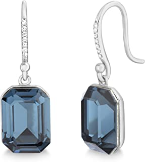 Devin Rose Sterling Silver Emerald Cut Dangle French Wire Earrings for Women made With Swarovski Crystals (Various Colors)