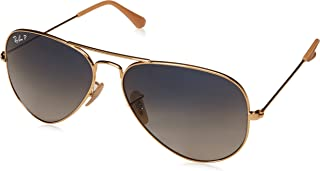 RAY-BAN RB3025 Aviator Large Metal Polarized Sunglasses, Gold/Polarized Blue Gradient, 58 mm