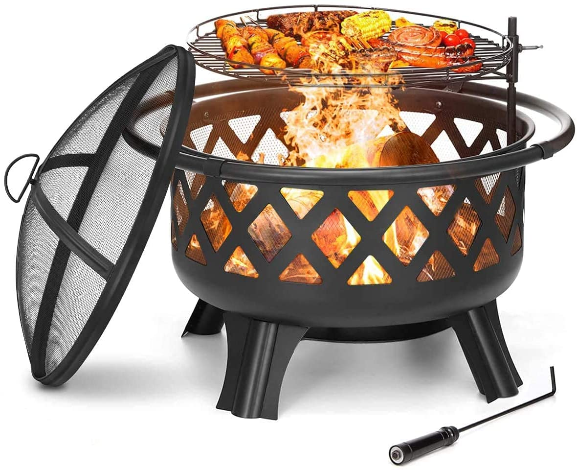 30 in Fire Pit Outdoor with Cooking Grate 2 in 1 Wood Burning Fire Pits Steel Firepit Bowl Outside with Swivel BBQ Grill, Spark Screen, Poker for Backyard Garden Bonfire Patio