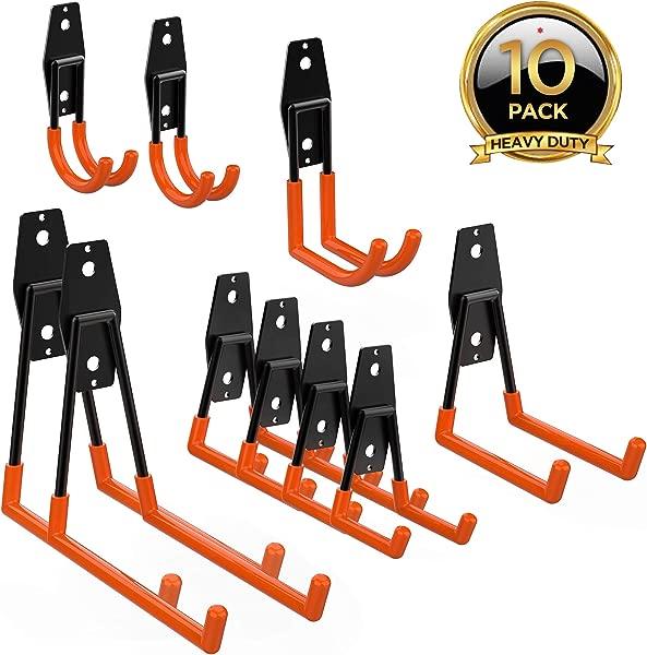 ORASANT 10 Pack Steel Garage Storage Utility Double Hooks Heavy Duty For Organizing Power Tools Ladders Bulk Items Bikes Ropes Etc