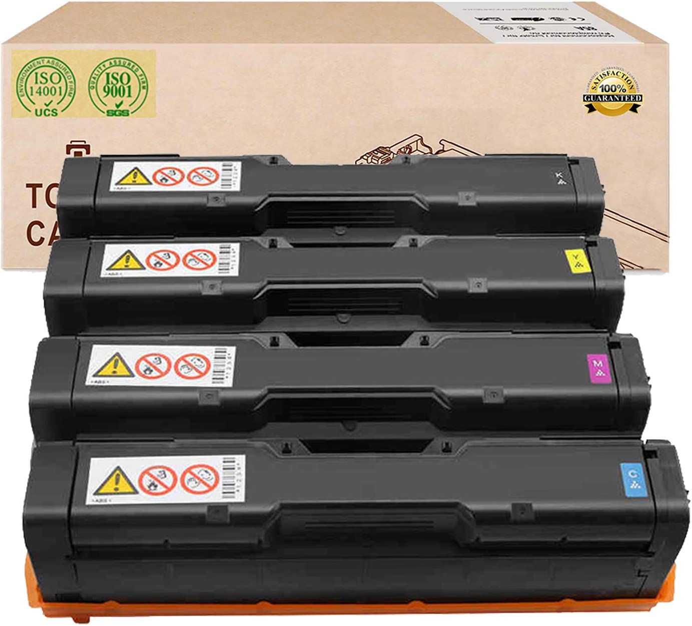 Compatible Toner Cartridges Replacement for RICOH SPC252DN 407561 407562 407563 407564 Toner Cartridges for RICOH Docucentre SPC252DN 252SF SPC262DNW SPC262SFNW Laser Printer,4color