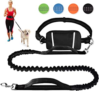 LANNEY Hands Free Dog Leash for Running Walking Jogging Training Hiking, Retractable Bungee Dog Running Waist Leash for Medium to Large Dogs, Adjustable Waist Belt, Reflective Stitches, Dual Handle
