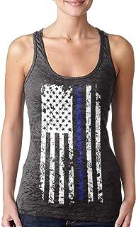 Blue Line American Flag - Police Support Ladies Racerback Tank Top