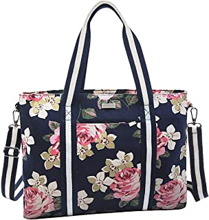 MOSISO Laptop Tote Bag (Up to 15.6 Inch), Canvas Classic Rose Multifunctional Work Travel Shopping Duffel Carrying Shoulder Handbag for Notebook, MacBook, Ultrabook and Chromebook Computers,Dark Blue Base Rose