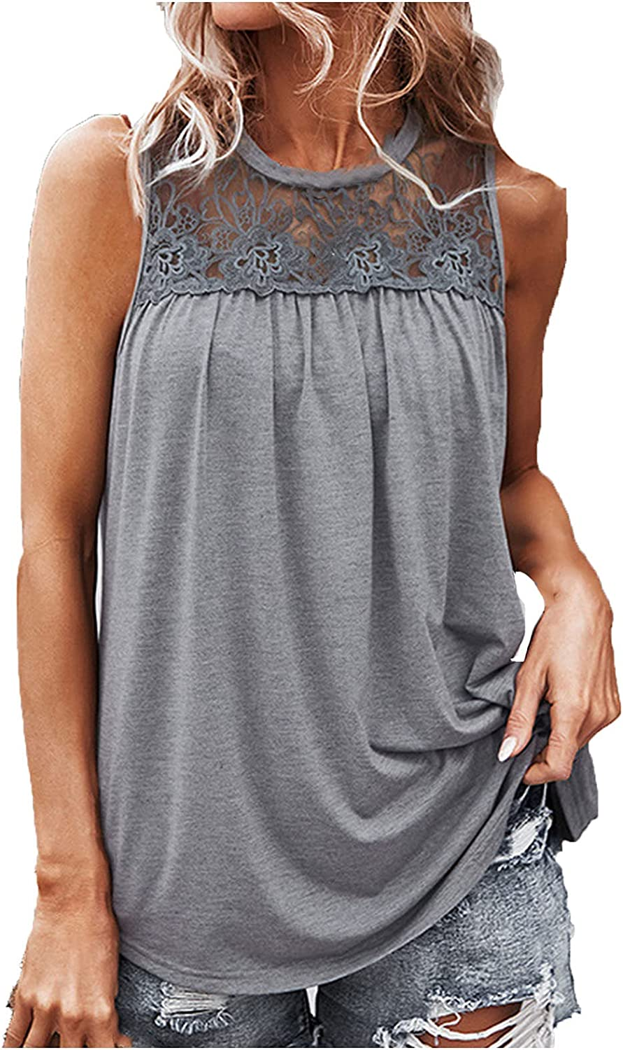 Women's Solid Casual Sleeveless Shirt Lace O-Neck Blouse Top Summer Pleated Sling Tank Tops