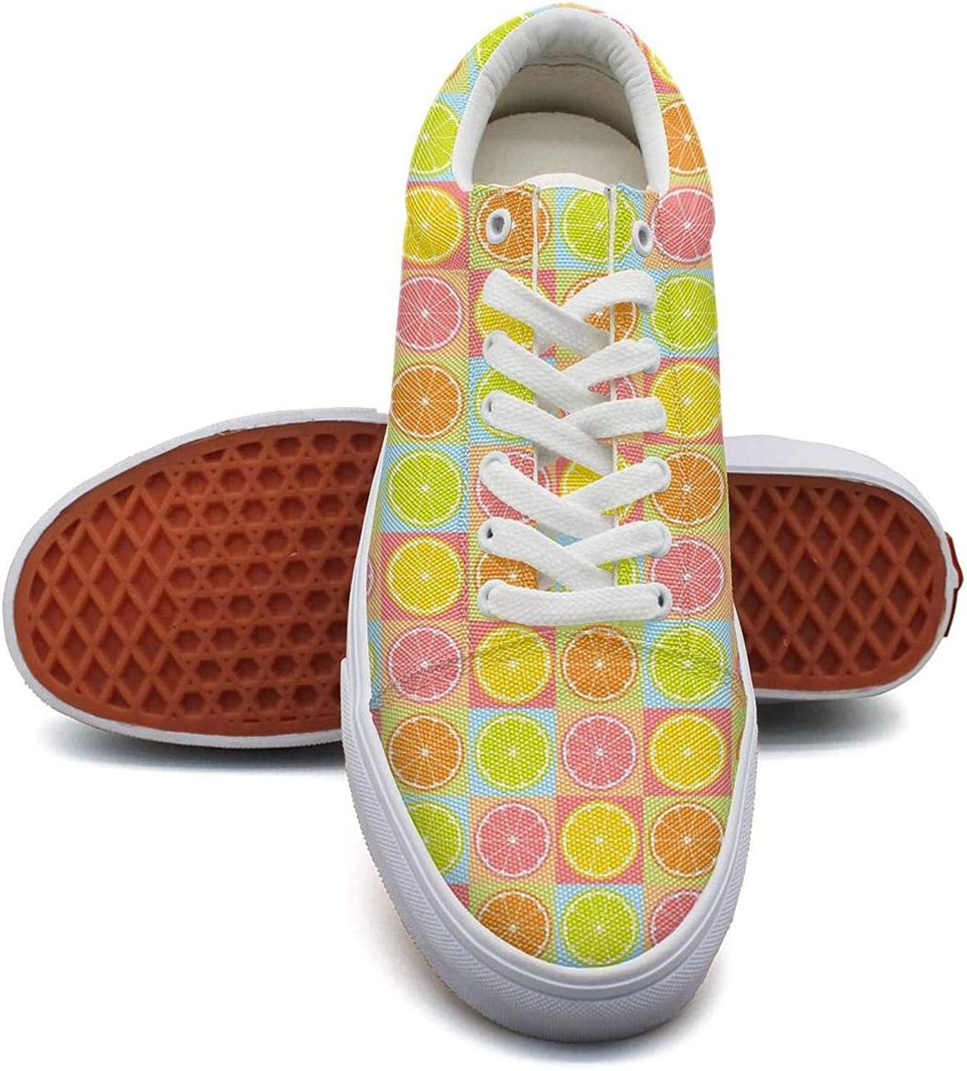 Lemon Watercolor Pattern in Yellow Casual Sneakers for Women Lo-Top Lightweight Running shoes Girls