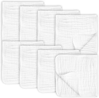 """8 Pack Muslin Burp Cloths Large 20"""" by 10"""" 100% Cotton, Hand Wash Cloth 6 Layers Extra Absorbent and Soft"""