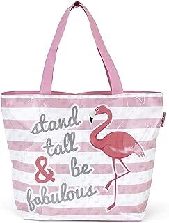 ARDITEX Grand sac de plage en pvc avec fermeture à glissière modèle Flamant rose 52x40x15cm Travel Tote, 52 cm, Pink (Rose)