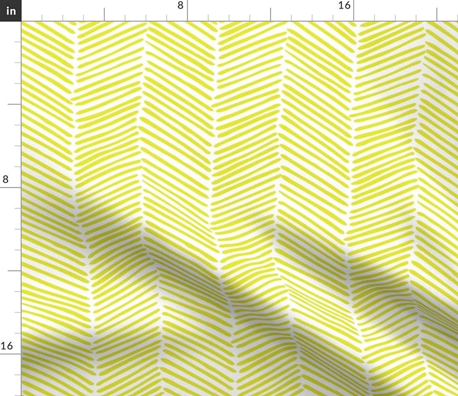 Spoonflower Yellow Chevron Fabric - Lemon Yellow Arrows Chartreuse and White Citron Zig Zag Green Yellow by Domesticate Printed on Petal Signature Cotton Fabric by The Yard