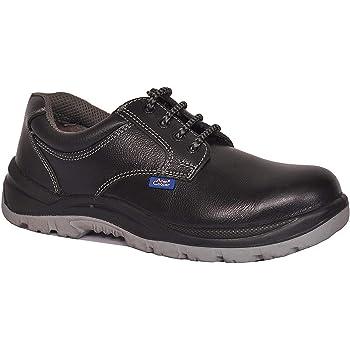 Allen Cooper AC 1102 Men's Safety Shoe, ISI Marked for IS:15298, 200J Steel Toe Cap, Size - 10 UK, Black