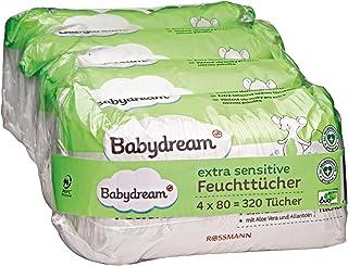 Babydream bardzo wrażliwe chusteczki nawilżające, 320 sztuk, 4 x 80, do skóry wrażliwej, delikatne czyszczenie, bez dodatk...