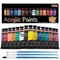 Shuttle Art 15 Colors Acrylic Paint Set, 12ml Tubes w/3Brushes Deals