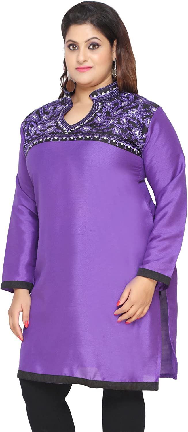 Maple Clothing Womens Embroidered Long Plus Size Poly Silk Sequins Indian Kurtis Tunic Top