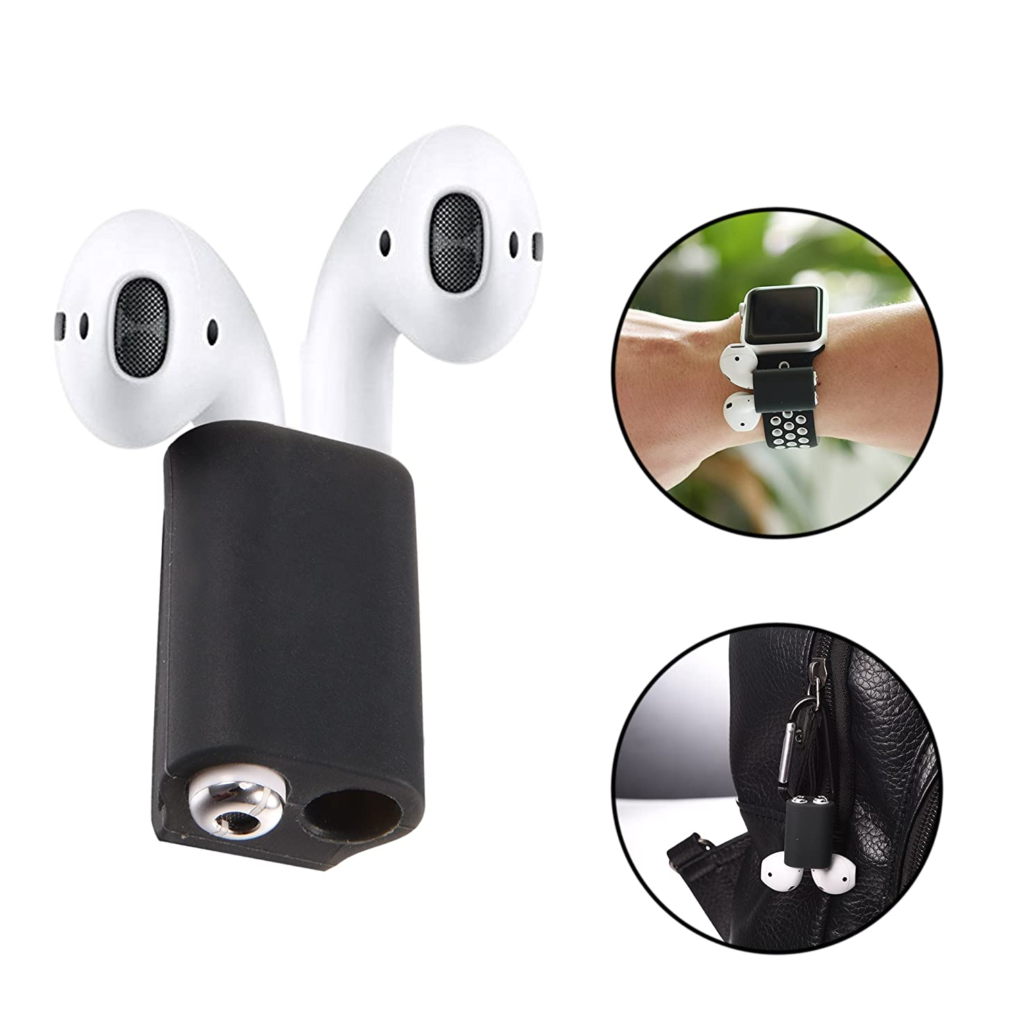 Bandmax Compatible Silicone Airpods Holder Shock Resistant AirPods Stand and Carabiner Airpods Accessories Compatible Apple AirPods (Black)