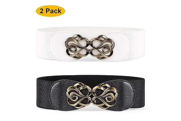 bad25f8b288 JASGOOD Women Stretchy Belt for Dresses Vintage Elastic Wide Waist Cinch  Belt