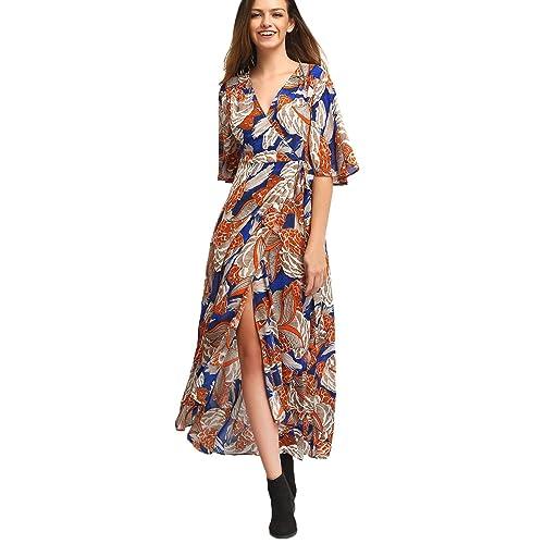 85750246e268 Milumia Women s Boho Deep V Neck Floral Chiffon Wrap Split Long Maxi Dress