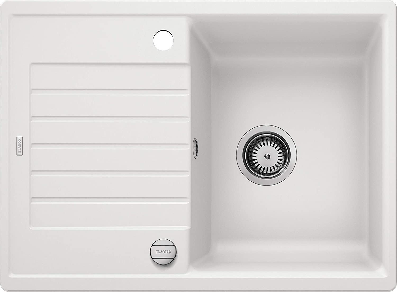 BLANCO ZIA 45 S Compact – Fregadero Rectangular de Granito para Armarios Bajos de 45 cm de Ancho con Escurridor Reducido – De SILGRANIT – Blanco – 524715