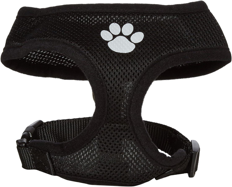 Mirage Pet Products Paw Design Soft Mesh Dog Harnesses, Medium, Black