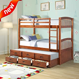 Jresboen Updated Thicken Natural Solid Wood Bunk Beds Twin Over Twin for Kids with Storage Drawers Trundle Stair and Safety Rail, Bunkbeds Twin Over Full Bunk Bed Frame for Boys Girls (Brown)