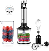 Kealive Hand Blender, Hand Immersion Blender with Smart Speed Control & Safety Child Lock, 4-in-1 Hand Stick Blender Sets with Food Chopper, 4 piece Stainless Steel Blades, Whisk, and BPA-Free Beaker
