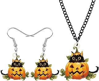 Acrylic Halloween Cat Pumpkin Head Jewelry Set Cute Kitten Animal Earrings Necklace Classic Gifts For Women Girls Teens Uo...